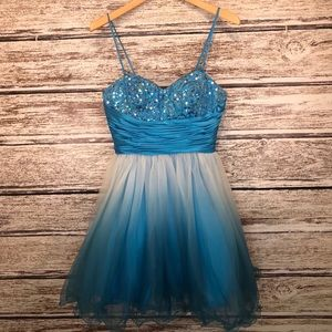 Jump Ombre blue spaghetti or strapless dress 7/8